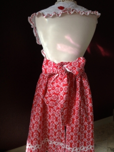 Red Eyelet Apron back